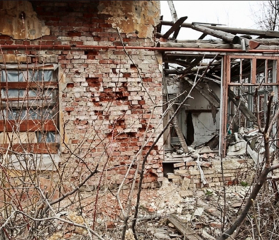 Destroyed home in Ukraine