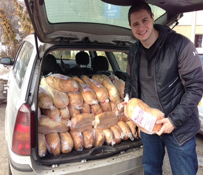 Delivering bread to the needy